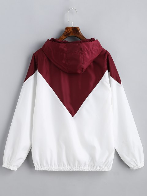 shop Two Tone Hooded Windbreaker - RED WITH WHITE S Mobile