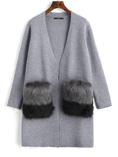 Faux Fur Pockets Open Front Cardigan - Gray