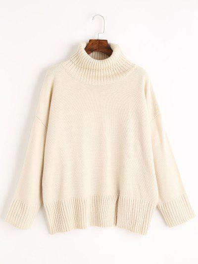 Slit Oversized Turtleneck Sweater - Off-white