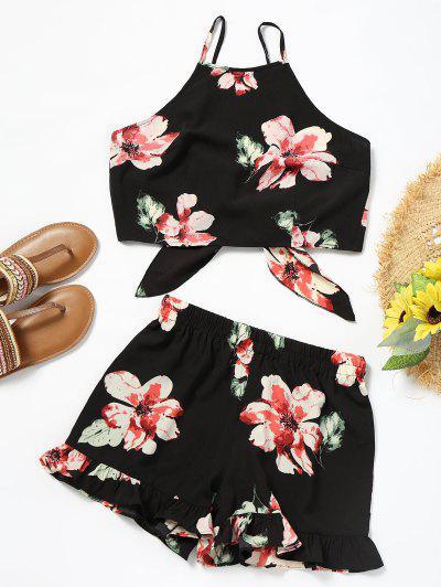 Floral Cami Crop Top With Shorts Set - Black L