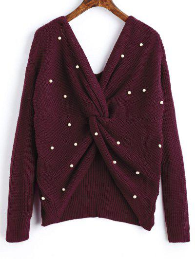 V Neck Twist Pearly Sweater - Wine Red