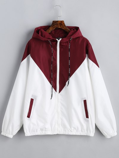 Two Tone Hooded Windbreaker - Red With White S