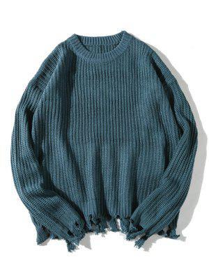 Distressed Hem Gerippte Textur Pullover