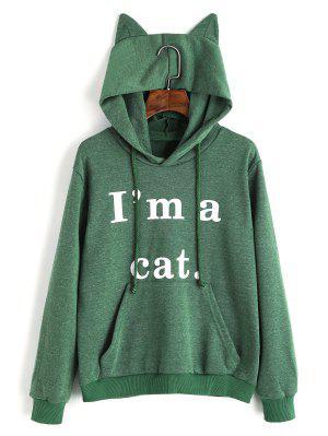 Sudadera con capucha gráfica Cat de bolsillo frontal