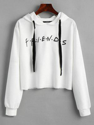 zaful Drawstring Loose Letter Cropped Hoodie