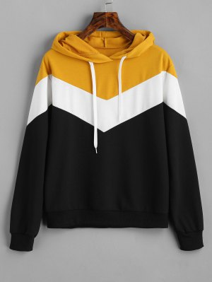 Drop Shoulder Drawstring Contrast Hoodie
