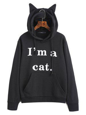Vordere Taschen-Buchstabe-Grafik-Katze Hoodie