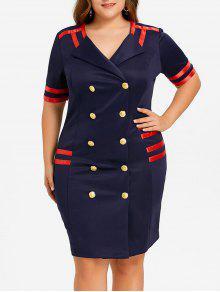 Plus Size Zweireihiges, Figurbetontes Kleid - Cadetblue 5xl