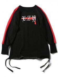 Reißverschluss-Design-Grafik-Sweatshirt - Schwarz S