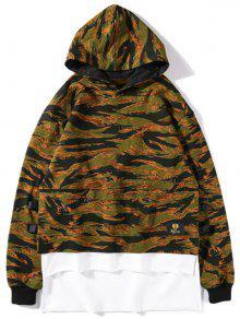 Hoch Niedriger Layered Camo Hoodie - Camouflage S