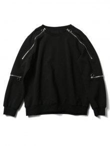 Rundhalsausschnitt Mit Reißverschluss Design Sweatshirt - Schwarz S