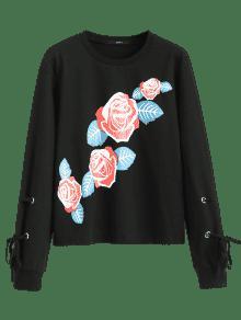 Floral Estampado M Con Sudadera Negro Estampada qa6nt0FzW