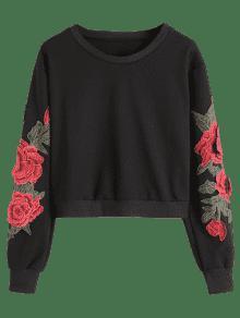 Sudadera M Negro Floral De Estampado Parche Con r6Yq8fr
