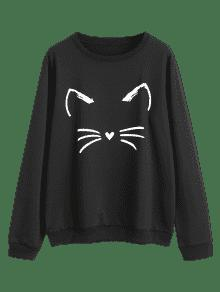 Sweatshirt Graphic Negro Cute L Cat YvqOxO
