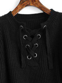 0496e0e963b Lace Up Cold Shoulder Chunky Sweater