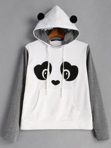 Y De Canguro Con L Bolsillo Face Panda Sudadera Gris Capucha Negro FqTI8qRwx