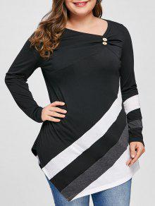 Plus Size Gestreifte Asymmetrische Tunika Top - Schwarz 5xl