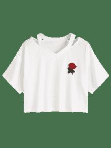Blanco Bordado 237;o Top Hombro De Floral Fr S YqRnOH