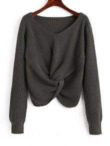 Chunky Pullover Mit V-Ausschnitt Und Twist  - Holzkohlegrau