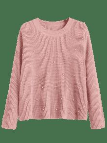 f289ab52c8d3 2019 Oversized Faux Pearls Pullover Sweater In PINK ONE SIZE   ZAFUL