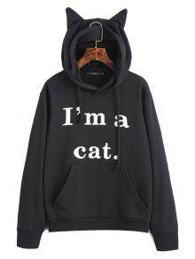 Sudadera Con Capucha Gráfica Cat De Bolsillo Frontal - Negro M