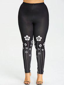 Plus Größe Kleine Florale Leggings - Schwarz 5xl