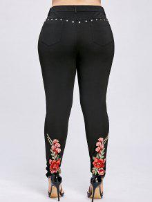 Plus Size Floral Bordado Rivet Pencil Calças - Preto 5xl
