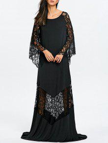 الدانتيل إدراج فستان ماكسي حزب - أسود M