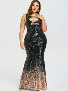 31% OFF] 2019 Plus Size Open Back Sparkly Prom Dress In BLACK | ZAFUL