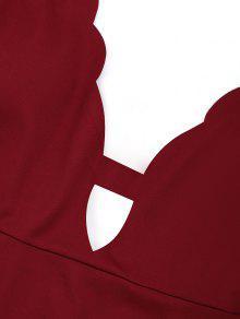 Vestido Corto Vino Festoneado L Rojo RFq8gR