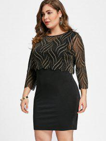 45107956c93 2019 Plus Size Shining Crop Top With Fitted Dress In BLACK 2XL