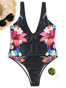 ملابس لسباحة الحجم الكبير طباعة الأزهار  - أسود Xl