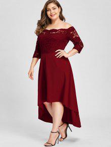 79687df36a84 26% OFF] 2019 Plus Size Fora Do Ombro Dip Hem Vestido De Renda Com ...