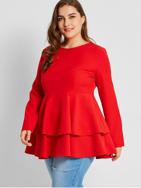 2018 Tiered Plus Size Peplum Top In Red 4xl Zaful
