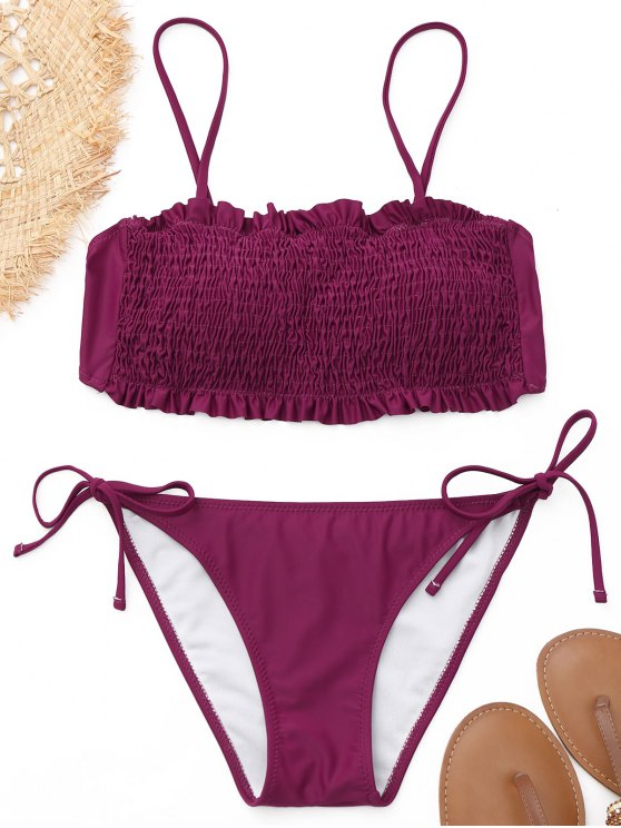 2019 Scrunch Butt Smocked Bikini Set In PURPLISH RED L  ff15091a3c