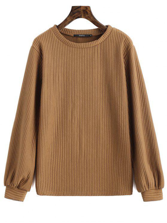 buy Lantern Sleeve Ribbed Sweatshirt - DARK KHAKI M