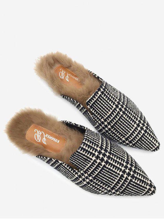 Scarpe da punta con motivo pied de poule - Nero bianco 35