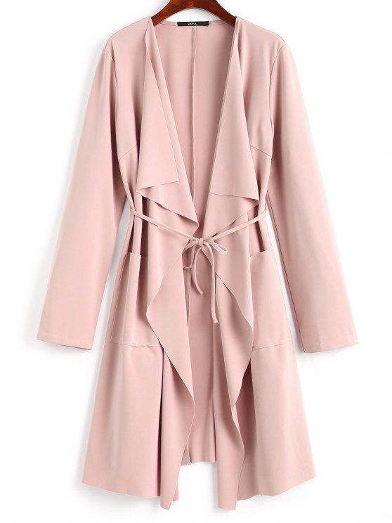 new Front Pockets Draped Coat - PINK M