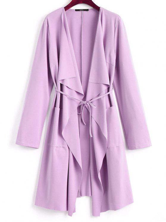 women Front Pockets Draped Coat - LIGHT PURPLE M