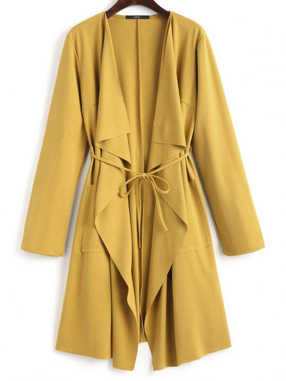 fashion Front Pockets Draped Coat - GINGER S