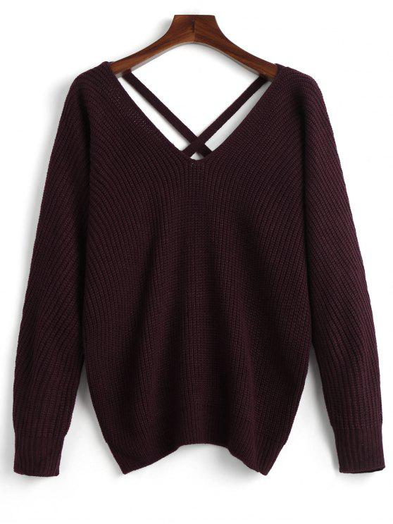 shop V Neck Criss Cross Pullover Sweater - DARK RED ONE SIZE