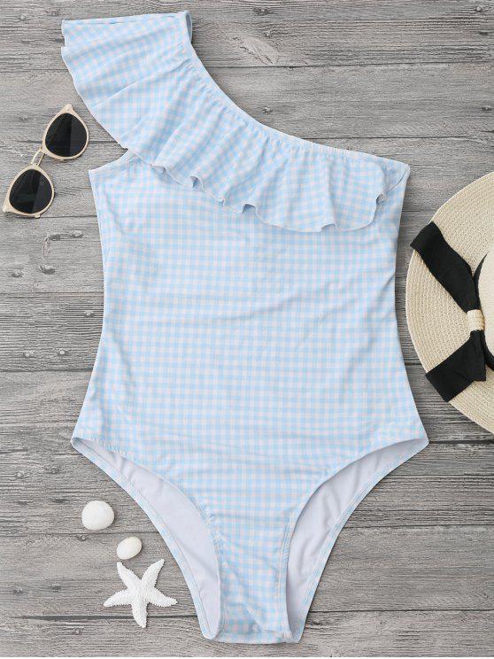 Costume Da Bagno A Quadri A Monospalla Con Volant - Blu e Bianco S