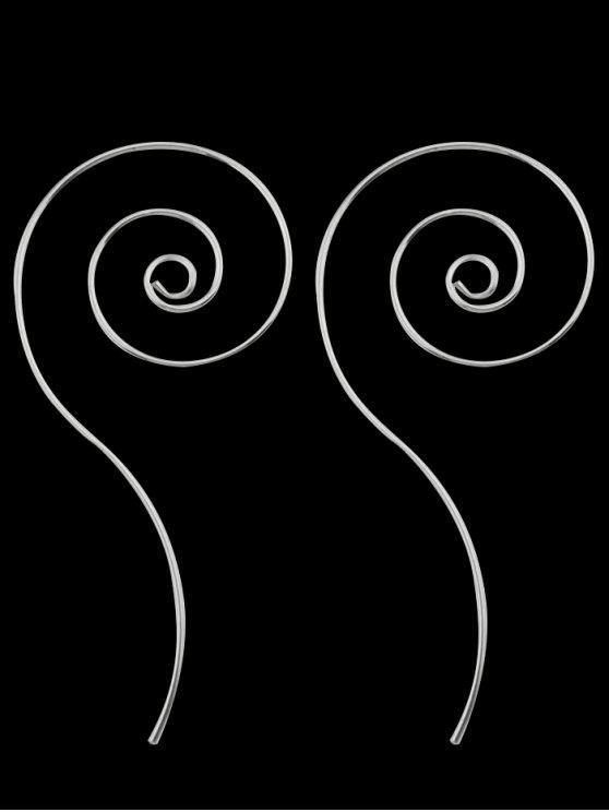 Boucles d'Oreilles Design Spirale en Métal - Argent