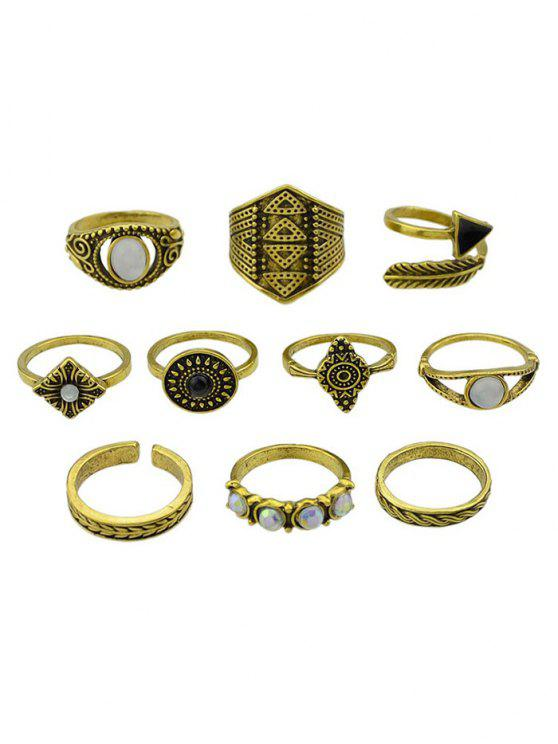 outfits Retro Metal Band Cuff Rings Set - GOLDEN ONE-SIZE