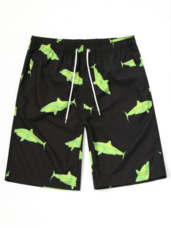 Shark Print Beach Board Shorts - Preto XL