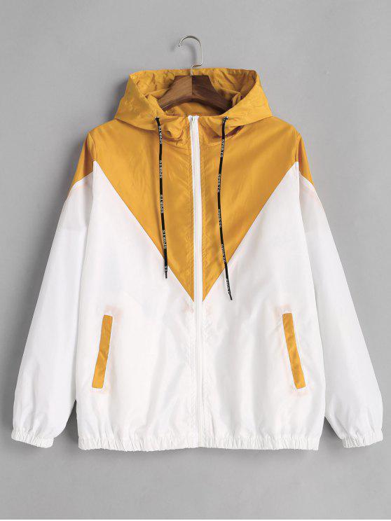 Two Tone Hooded Windbreaker   Yellow S by Zaful