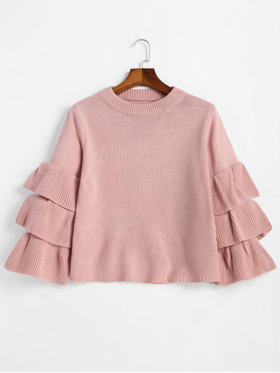 Flouncy Layered Sleeve Pullover Sweater PINK: Sweaters ONE SIZE ...