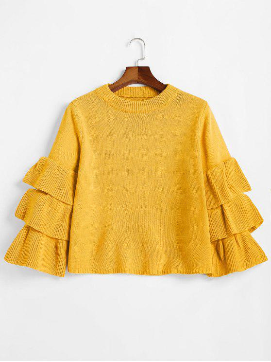 ladies Flouncy Layered Sleeve Pullover Sweater - MUSTARD ONE SIZE