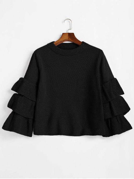 online Flouncy Layered Sleeve Pullover Sweater - BLACK ONE SIZE