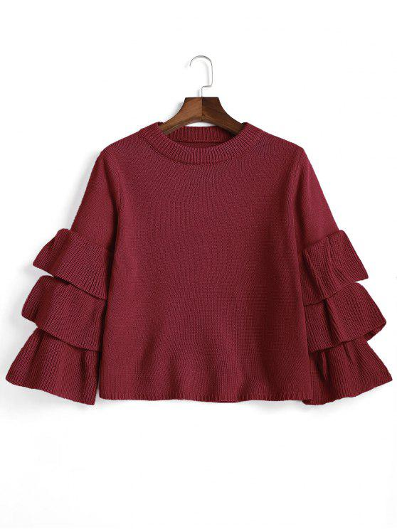 hot Flouncy Layered Sleeve Pullover Sweater - WINE RED ONE SIZE
